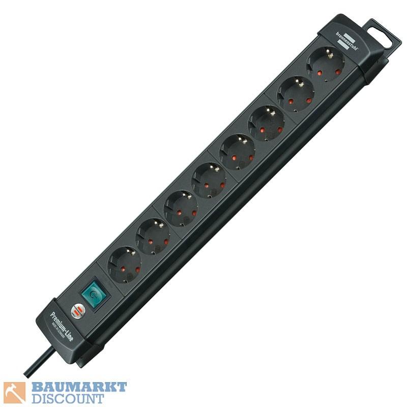 Brennenstuhl Steckdosenleiste Premium-Line 8-fach 3m schwarz