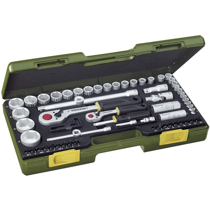 Proxxon Steckschlüsselsatz mit Knüppelratschen 1/4'' und 1/2'',65-teilig.