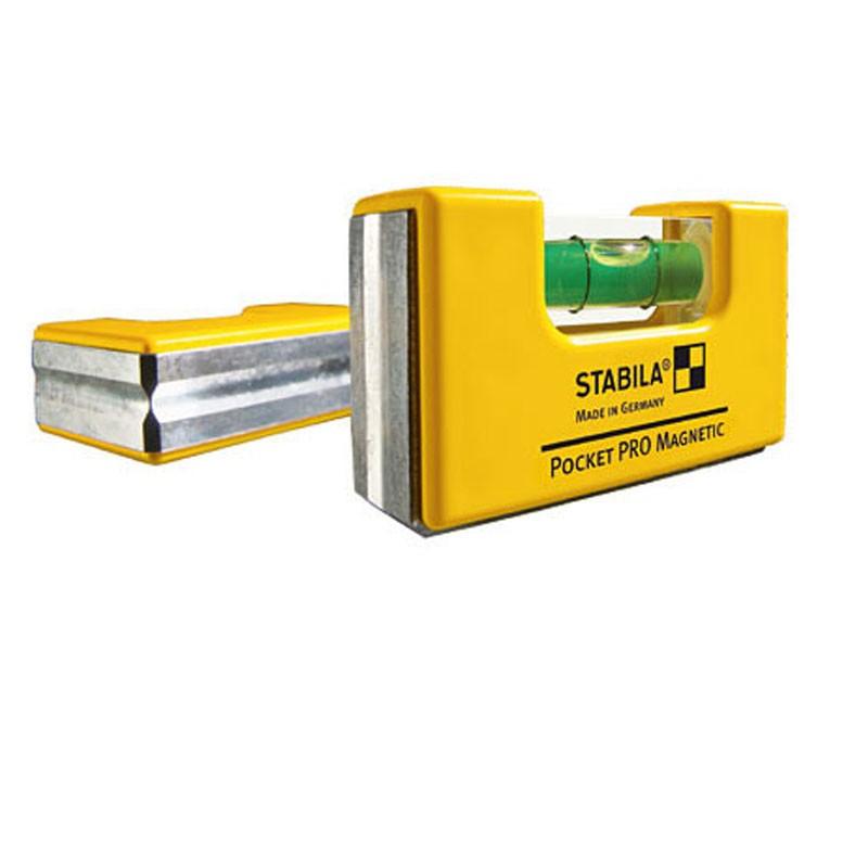 Stabila Mini Wasserwaage Pocket Pro Magnetic mit Gürtelclip