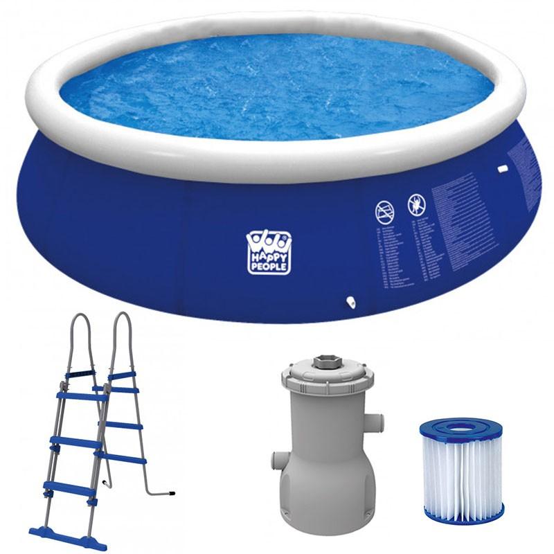 Happy People Quick Up Pool Set  360 x 90 cm mit Filterpumpe und Leiter