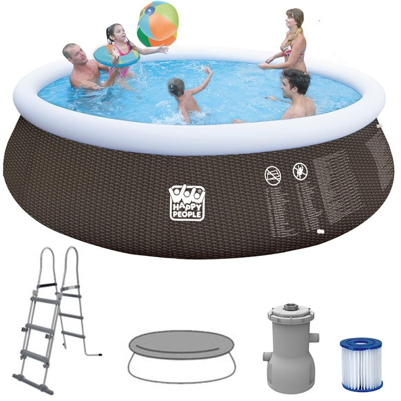 Happy People Quick Up Pool Set  450 x 106 cm im Rattan-Design mit Zubehör